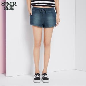 森马牛仔裤 夏装 女士中低腰松紧抽绳裤子热裤短裤韩版潮