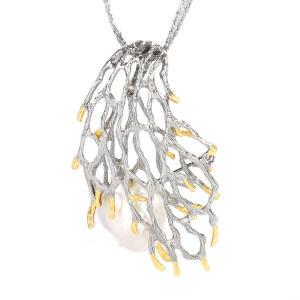 戴和美珠宝首饰吊坠 精选珍珠个性镶嵌珊瑚形吊坠胸针