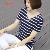 【下单立享7折 买2件5折】韩版条纹短袖t恤女下摆开叉宽松上衣半袖v领外穿休闲打底衫
