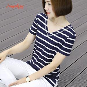 【满200减100】韩版条纹短袖t恤女下摆开叉宽松上衣半袖v领外穿休闲打底衫