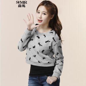 森马套头卫衣 秋装 女士长袖T恤印花t恤背心两件套韩版潮