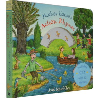【英文原版】Mother Goose's Action Rhymes (附CD) 鹅妈妈经典童谣 纸板书 Axel Scheffler