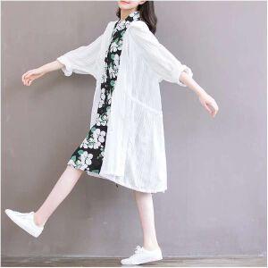 波柏龙 夏新薄款风衣外套女夏季中长款棉麻空调开衫宽松文艺白色防晒衣