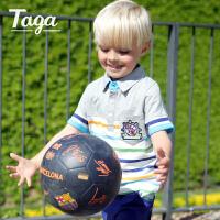 【满200-100】TAGA童装 2017夏季新款男童翻领POLO套装儿童纯棉T恤短裤男童套装
