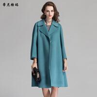 冬季女士新款翻领九分袖中长款双面羊毛呢大衣宽松休闲外套M-616302