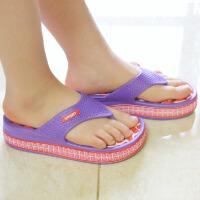 普润 女式居家高跟防滑按摩拖鞋 人字拖鞋 夏季休闲凉拖鞋 (红底紫边) 36码