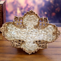 时尚客厅果盘家居装饰品复古摆件树脂创意欧式水果盘大号