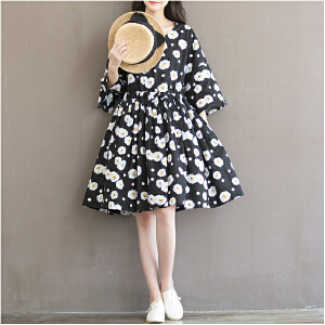 波柏龙 新款大码女装文艺复古中长款印花棉布宽松七分袖连衣裙潮
