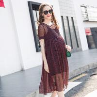 孕妇装夏装吊带裙两件套新款韩版小碎花孕妇裙宽松雪纺连衣裙夏季 S17093
