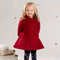 davebella戴维贝拉  女童冬装毛呢外套 宝宝加厚保暖羊毛大衣