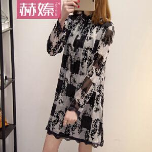 【满200减100】【赫��】2017夏装新款韩版时尚宽松显瘦印花雪纺长袖中长款连衣裙H6642
