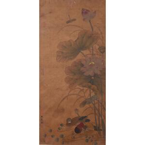 1507     王冕《荷花鸳鸯》     乾隆御览之宝,多位名家收藏章