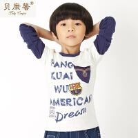 【当当自营】贝康馨童装 男童带盖贴兜拼接T恤 韩版纯棉创意图案设计T恤新款秋装