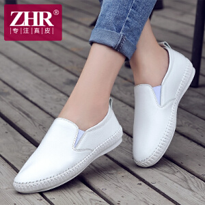 ZHR2017春季新款真皮乐福鞋女韩版平底鞋单鞋学生女鞋手工缝线休闲鞋M112