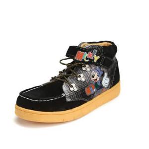 鞋柜SHOEBOX冬款米奇图案魔术贴时尚高帮休闲鞋