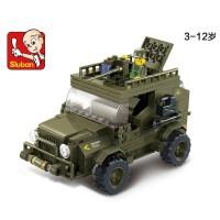 全店满99包邮!小鲁班拼装军事 创意玩具陆军吉普车模型6岁以上男孩益智玩具正品