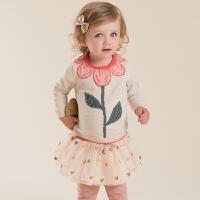 davebella戴维贝拉 女童秋季新款纯棉套头毛衣 宝宝婴儿针织衫