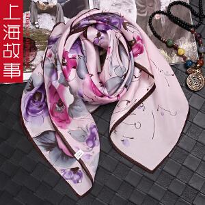 上海故事新款真丝围巾女春秋百变格子大方巾桑蚕丝领巾披肩两用夏季空调披肩