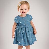 davebella戴维贝拉2017年夏季新款连衣裙 女宝宝牛仔短袖连衣裙