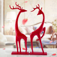 装饰品结婚礼物家居摆设客厅摆件 欧式摆件时尚创意小鹿树脂工艺品