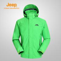 【全场2.5折起】Jeep/吉普冲锋衣男式户外防风防水透气大码开衫外套J651010104