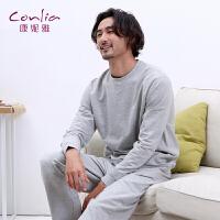 【便服】康妮雅春季男士家居服简约休闲运动宽松套头长袖套装