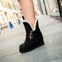 彼艾2016老北京布鞋秋冬时尚坡跟内增高雪地靴高跟皮带扣中筒女靴子