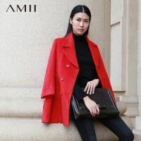 【AMII超级大牌日】[极简主义]冬装通勤翻领双排扣羊毛呢大衣女11300676