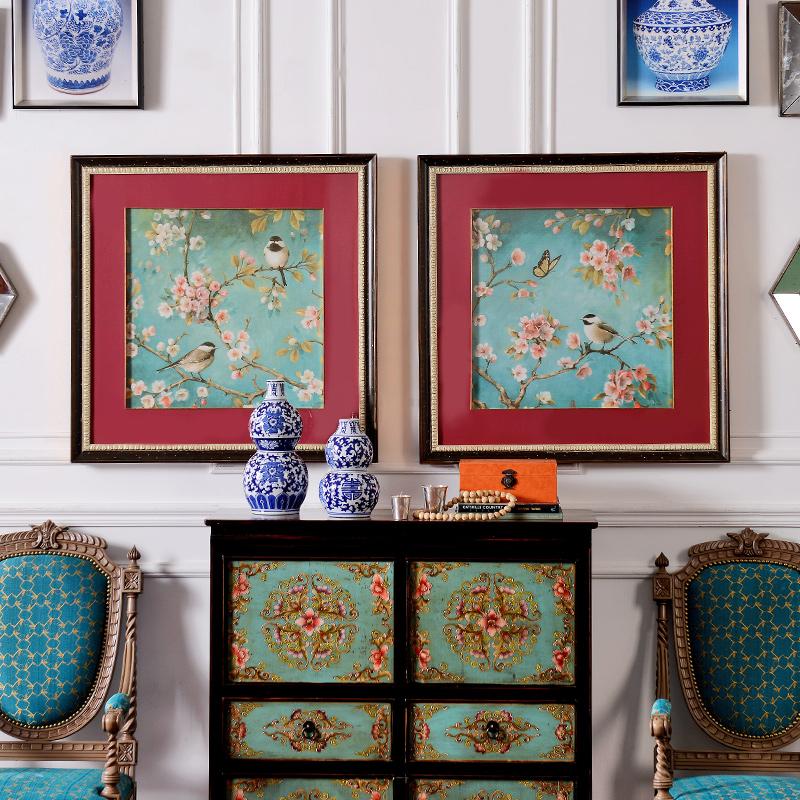 中美式家居墙面装饰挂画画芯客厅有框装饰画