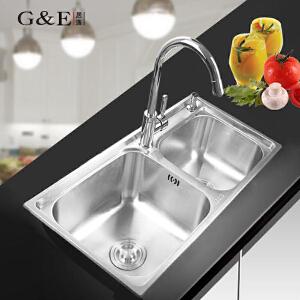 居逸SUS304不锈钢水槽套装双槽一体拉伸洗菜盆厨盆GE3003801