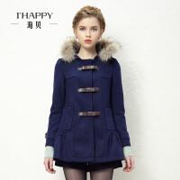 海贝 冬装新款毛呢外套韩版甜美带帽貉子毛修身中长款毛呢大衣