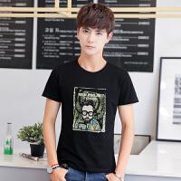 新款男士短袖t恤 套头圆领上衣 修身t恤夏季韩版半袖印花衣服男装