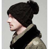 撞色针织帽冬帽麻花帽女 毛线帽子男士  秋冬季保暖冷帽男士韩版