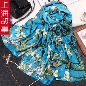 上海故事女春秋夏季真丝丝巾披肩长款围巾加厚桑蚕丝缎面方巾两用纱巾