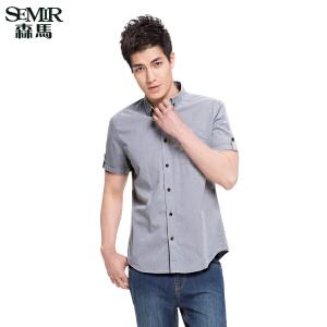 森马 夏季装新款男士 棉短袖衬衫男装韩版 休闲衬衣男潮流