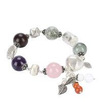 戴和美 精选绿幽灵配小叶紫檀,紫水晶,粉水晶S925银手链