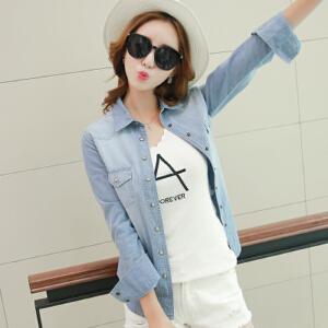 【当当年中庆】新款韩版修身显瘦牛仔衬衫长袖打底衫女装外套