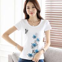 波柏龙 短袖T恤女2017夏季新款纯白纯棉修身显瘦T恤气质淑女