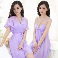性感睡衣 女 夏季透明诱惑睡袍 蕾丝大码带胸垫吊带睡裙两件套装