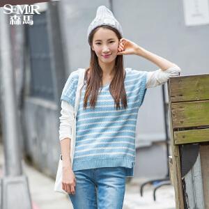 森马条纹针织衫 春装 女士套头宽松长袖T恤两件套韩版潮