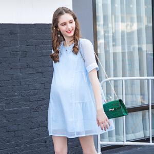 孕妇装 夏装 雪纺褶皱连衣裙中长款短袖宽松圆领超薄连衣裙外穿潮16B101