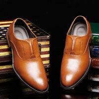 路屋 新款秋季男士尖头商务皮鞋英伦黑色结婚套脚皮鞋透气休闲皮鞋板鞋发型师鞋 货到付款
