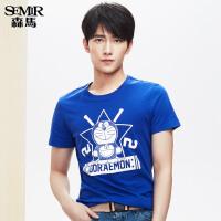 森马短袖T恤男  2017夏装新款 男士青少年学生叮当猫印花打底T恤
