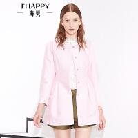 海贝春装上衣女时尚圆领纯色按扣长款外套