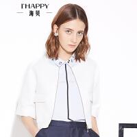 【海贝超级品牌日 买三免一再满减】【8.2上新】海贝年春季新款女 圆领中袖短款修身时尚短外套