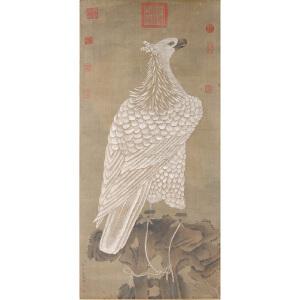 1436   郎世宁《雄鹰图》  乾隆御览之宝。原装旧裱。有多位名家收藏章
