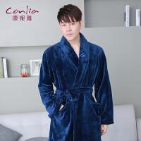 【专柜同款】康妮雅男士秋冬中厚法兰绒长袖中长款睡袍
