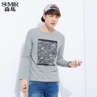 森马修身长袖T恤 2017春装新款 男士圆领套头个性几何印花韩版潮