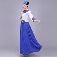 新款大合唱演出服古典青花瓷长裙合唱服表演服装女合唱团礼服