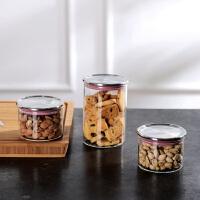奇居良品 纤乔尔彩色系列厨房用品不锈钢圆形玻璃密封罐3件套